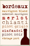 Wine Types Typography Kitchen Wall Plaque Wood Sign