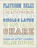 Boys Playroom Rules Typography Wall Plaque Wood Sign