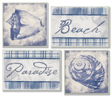 Beach, Paradise and Seashells Set of 4 Wood Sign