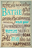Bathe Wash Your Worries Typography Bath Plaque Wood Sign