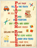 Playroom Rules Acrostic Typography Wood Sign