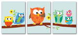 Owls on Branch Set of 3 Part 2 Wall Plaques Wood Sign