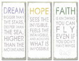 Dream Hope Faither Inspirational Typography Wall Plaque Trio Wood Sign