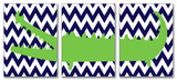 Alligator with Navy Chevron Triptych Wood Sign