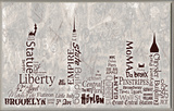 NYC City Skyline Typography Wall Plaque Wood Sign
