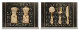 Salt Pepper and Utensils Typography Kitchen Wall Plaque Duo Wood Sign