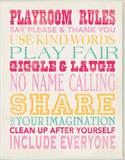 Girls Playroom Rules Typography Wall Plaque Wood Sign