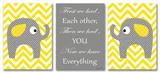 Yellow Chevron Elephants Love Trio Wood Sign