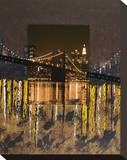 Brooklyn Bridge at Night Stretched Canvas Print by Mauro Baiocco