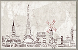Paris Skyline Typography Wall Plaque Wood Sign