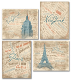 Paris and NYC Typography and Scenes Set of 4 Wood Sign
