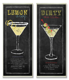 Lemon Drop and Dirty Martini Chalkboard Wall Plaque Duo Wood Sign