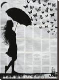 Butterfly Rain Stretched Canvas Print by Loui Jover