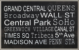 NYC Train Station Stops Wall Plaque Wood Sign