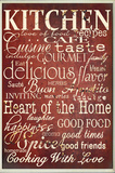 Red Kitchen Words Wall Plaque Wood Sign