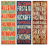 Trio of Sports Typography Set Wood Sign