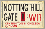 Notting Hill Gate W11 Railroad Wall Plaque Wood Sign