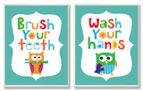 Brush Your Teeth & Wash You Hands Boy's Duo Wood Sign