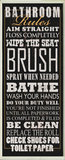 Black Bathroom Rules Typography Tall Wall Plaque Wood Sign