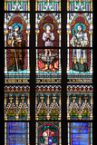 Prague, St. Vitus Cathedral, Stained Glass Window, St. Agnes of Bohemia, St. Vitus, St. Sarcander Photographic Print by Samuel Magal