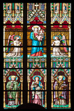 Prague, St. Vitus Cathedral, Stained Glass Window, Virgin Mary Holding Baby Jesus. Photographic Print by Samuel Magal