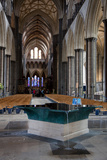England, Salisbury, Salisbury Cathedral, Interior, Font and Nave Photographic Print by Samuel Magal