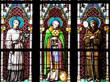 Prague, St. Vitus Cathedral, Stained Glass Window, Three Standing Holy Men Photographic Print by Samuel Magal