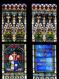 Prague, St. Vitus Cathedral, Stained Glass Window, Coat of Arms, Inscription, Decoration Photographic Print by Samuel Magal