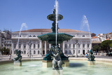 Portugal, Lisbon, Main Square (Pedro IV Square), Rossio Fountain Photographic Print by Samuel Magal