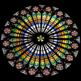 France, Alsace, Strasbourg, Strasbourg Cathedral, Stained Glass Window, Rose Window Photographic Print by Samuel Magal