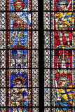 France, Alsace, Strasbourg, Strasbourg Cathedral, Stained Glass Window, Theban Legion Warriors. Photographic Print by Samuel Magal