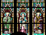 Prague, St. Vitus Cathedral, Stained Glass Window, Three figures of Saints / Apostles / Martyrs. Photographic Print by Samuel Magal