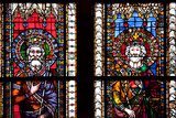 France, Alsace, Strasbourg, Strasbourg Cathedral, Stained Glass Window, Henry V and Frederick Photographic Print by Samuel Magal