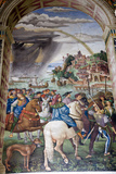Italy, Siena, Siena Cathedral, Fresco, Aeneas Silvio Piccolomini leaves for the Council of Basel. Photographic Print by Samuel Magal