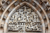 Prague, St. Vitus Cathedral, Central Portal, Western Facade, Tympanum Reliefs Above Bronze Door Photographic Print by Samuel Magal
