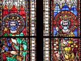 France, Alsace, Strasbourg, Strasbourg Cathedral, Stained Glass Window, Charles and Charlemagne Photographic Print by Samuel Magal