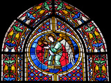 France, Alsace, Strasbourg, Strasbourg Cathedral, Stained Glass Window, Angel Photographic Print by Samuel Magal