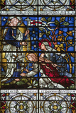 England, Salisbury, Salisbury Cathedral, Stained Glass Window, Jesus revealed to Two Women Photographic Print by Samuel Magal