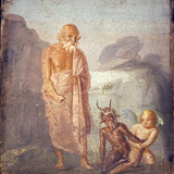 Italy, Naples, Naples Museum, from Pompeii, House of Meleager (VI 9, 2.13), Sileno, Eros and Pan Photographic Print by Samuel Magal