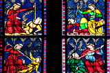 France, Alsace, Strasbourg, Strasbourg Cathedral, Stained Glass Window, Vices Overcome by Virtues Photographic Print by Samuel Magal