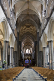 England, Salisbury, Salisbury Cathedral, Interior, Nave, Looking East Photographic Print by Samuel Magal