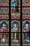 Prague, St. Vitus Cathedral, Stained Glass Window, St. Adalbert, St. Cybillus, St. Clemens Photographic Print by Samuel Magal