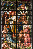 England, Salisbury, Salisbury Cathedral, South Aisle, Stained Glass Window, Jesus Impressão fotográfica por Samuel Magal