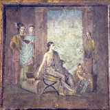 Italy, Naples, Naples Museum, from Pompeii, Woman Painter and a Bust of Bacchus Photographic Print by Samuel Magal