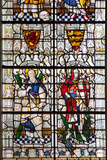 England, Salisbury, Salisbury Cathedral, Stained Glass Window, Saint Andrew and Saint George Photographic Print by Samuel Magal