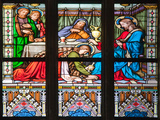 Prague, St. Vitus Cathedral, Stained Glass Window, Woman washes Jesus' Feet Photographic Print by Samuel Magal