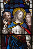England, Somerset, Bath, Bath Abbey, Stained Glass Window, New Testament Scenes, Jesus Photographic Print by Samuel Magal