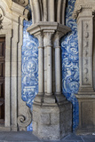 Portugal, Porto, The Church of Saint IIdefonso, Cloister, Decorated Column and Ceramic Tiles Photographic Print by Samuel Magal