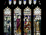 England, Somerset, Bath, Bath Abbey, Stained Glass Window, The Coronation of Edgar Photographic Print by Samuel Magal