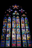 Prague, St. Vitus Cathedral, Thunov Chapel, Stained Glass Window, Psalms, Psalm 126:5 Fotografisk trykk av Samuel Magal